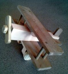 Hand crafted wooden biplane self made