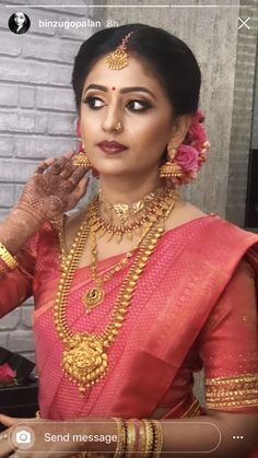 Kerala Wedding Saree, South Indian Wedding Saree, South Indian Bridal Jewellery, Kerala Bride, Indian Bridal Sarees, Bridal Silk Saree, Indian Bridal Outfits, Indian Bridal Fashion, Wedding Sarees