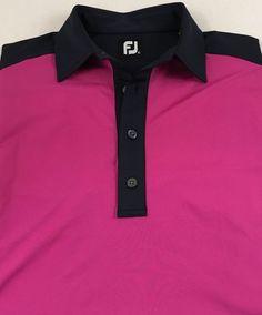 FootJoy Mens Short Sleeve Golf Polo Shirt FJ Solid Size Medium Polyester Spandex #FootJoy #PoloRugby