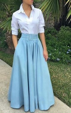 Long Skirt Outfits, Modest Outfits, Classy Outfits, Frock Fashion, Hijab Fashion, Fashion Dresses, Girls Fashion Clothes, Girl Fashion, Stylish Dresses