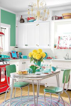 "Besides the food, the center of any diner are the cozy booths. Those comfy red leather seats are practically calling out, ""Sit, stay a while."" If you really want to go full-retro, splurge on a classic red booth for your kitchen. For a less expensive option, try bar stools or diner-style chairs in red, black, or mint green."