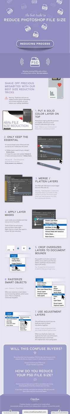 On the Creative Market Blog - Infographic: The Best Tricks to Reduce Photoshop File Size