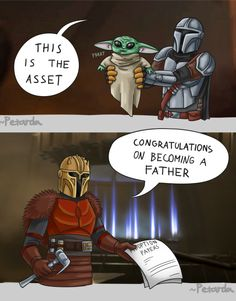 featuring a single dad just doing his best, also known as Mando the Mandalorian Star Wars Fan Art, Star Wars Witze, Star Wars Jokes, Star Wars Comics, Yoda Meme, The Force Is Strong, Film Serie, Cultura Pop, Anime