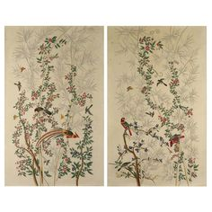Pair of Chinoiserie Hand-Painted Wall Paper Panels, Watercolor on Rice Paper Antique Wallpaper, Hand Painted Wallpaper, Hand Painted Walls, Painting Wallpaper, Painted Paper, Asian Wall Art, Asian Art, Art Furniture, Antique Furniture
