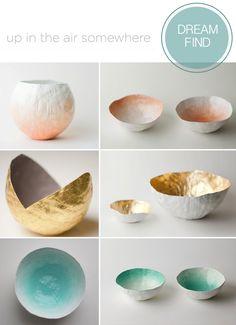 Up in the air somewhere, Stylish Homewares, Paper Mache Bowls, Golded Bowls, Pastel Homewares, Drinkware, Glassware, Ceramics, UK Etsy Shop(Diy Paper Mache)