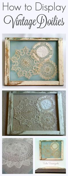This is the BEST way to display your grandmother's vintage crocheted doilies- gorgeously shabby chic, they are stitched to screen that has been attached to an antique salvaged window frame. A stunning repurpose and relatively simply DIY craft project anyo Shabby Chic Wall Decor, Shabby Chic Bedrooms, Shabby Chic Homes, Shabby Chic Furniture, Vintage Furniture, Shabby Chic Living Room, Bedroom Furniture, Small Bedrooms, Shabby Chic Decorating