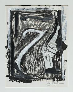 Jasper JOHNS  Numbers Série de 10 dessins 1960-1971 Série Seven (Sept) 1960 - 1971 Lithographie retravaillée à la peinture acrylique, à l'huile et au stylo feutre, collage de lithographie découpée et de fragments de magazine déchiré 32 x 27,7 cm Signé en bas à droite au crayon : J.Johns