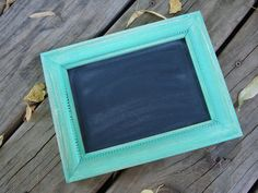 Aqua  Chalkboard frame Photo prop by whatsyoursigndesigns on Etsy, $13.00