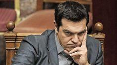 Griechenlands Regierungschef Alexis Tsipras - ++In Athen fliegen die Fetzen ++Parlamentsdebatte abgesagt++ | Tsipras droht seinen Ministern mit Rauswurf Wer nicht unterschreibt, fliegt! http://www.bild.de/politik/ausland/griechenland-krise/tritt-tsipras-ende-der-woche-zurueck-41782396.bild.html
