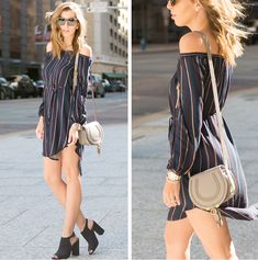 Paired an easy, striped shirtdress with peep toe heels as a classic look to transition into spring with.