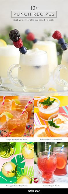 Big batch cocktails like punch are a host's savior. Not only are they sanity-saving — it's hard to interact with your guests and enjoy your party if you're mixing cocktails the entire time — but they're also a centerpiece. Peruse these recipes and pin your favorites so that the next time you're hosting you'll have a leg up on planning.