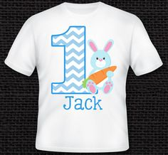 Personalized Easter Bunny Birthday Shirt - TShirt - Infant Baby Bodysuit - Tee - Boys, Girls, Kids, Adults, Custom with ANY AGE or NAME by One Whimsy Chick - 100% Cotton Handmade in the USA. 100% Cotton Personalized T-Shirt or Onesie - See Size Chart for correct sizing.