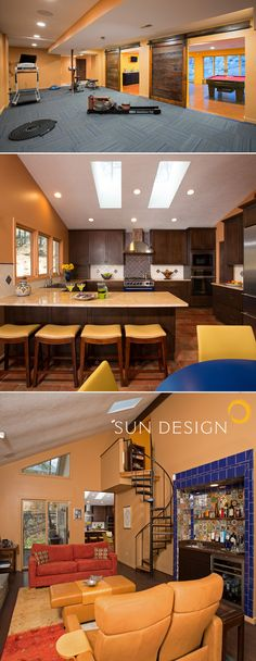 Spanish-style home remodel with sliding barn doors, exposed beams, Mexican tile, and yellow orange accents. Spanish Style Homes, Spanish House, Sims, Sun Designs, Mediterranean Home Decor, House Tiles, Tuscan Decorating, Texas, House Elevation