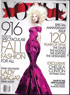 Vogue magazine Lady Gaga Fall fashion Hillary Clinton Special anniversary issue