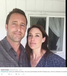 ♥♥♥  Claire Forlani (@ClaireAForlani) with Alex O'Loughlin BTS H50