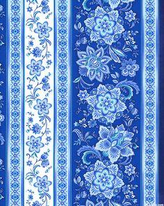 TTVNA2BL Vienna Folk Blossom Stripe, marine blue