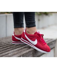 purchase cheap be802 a6bdc Nike Cortez Femme Rouge Blanc Rouge, Chaussure, Formateurs, Baskets Nike