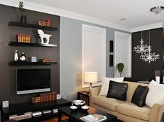 Book shelves above TV