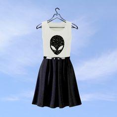 Alien Skater Dress // UFO // Moon // Galaxy Planet Nebula Black Print Seapunk  // Glitter Dress // Kawaii Dres // Pastel Goth // Day Dress