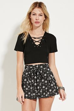Belted Geo Print Shorts these shorts are so cute! They would be cute for going to a casual summer party or hanging out with friends