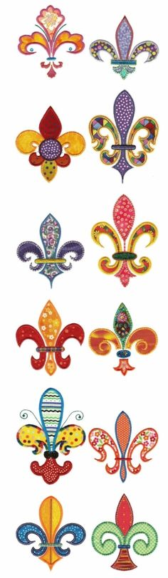Multiple Fleur de lis applique designs, only 2 sizes in each though by lela