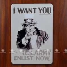 Tin Sign Wall Decor Retro Metal Art Poster Uncle Sam I Want You US Army WWII | eBay