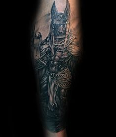 Leg Calf Male Anubis Tattoo With Realistic Design
