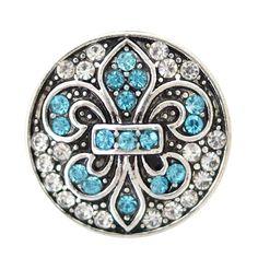 1 PC - 18MM Fleur De Lis Blue Rhinestone Silver Snap Candy Charm kb6889 CC2014
