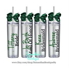 Set of 6 Custom Wedding Party Skinny Acrylic Tumblers (The Jenna Sue Collection)