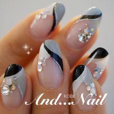 Kobe ◆ ◆ And . Colorful Nail Designs, Beautiful Nail Designs, Beautiful Nail Art, Nail Art Designs, Nail Manicure, Diy Nails, Cute Nails, Pretty Nails, Silver Nails