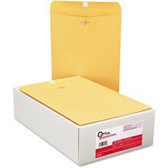 "Glue these in the back of interactive notebooks for loose pieces/storage Office Impressions Kraft Clasp Envelopes, 9"" x 12"", Box of 100"