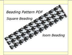 Beading Pattern PDF. Square Beading. Square Bracelet Pattern. Beadweaving pattern .Bracelet Pied de poule .Pattern PDF Crow's feet
