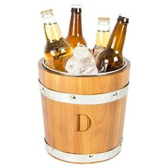 Cathy's Concepts Personalized Rustic Ice Bucket - H, Brown Silver