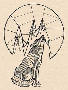 geometric wolf woman tattoo - Google Search
