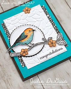 Card by Julie DeGuia (031017) [Stampin' Up! (dies) Birds & Blooms Thinlits, Layering Circle Framelits, Stitched Shapes Framelits; (e/f) Petal Burst Textured Impressions; (stamps) Best Birds]