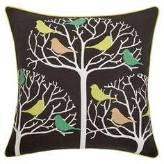 """Wrapped in linen and cotton, this handmade pillow showcases colorful perched birds among delicate branch silhouettes.  Product: PillowConstruction Material: Linen-cotton cover and feather-down fillColor: Green and multiFeatures: Insert includedHandmadeDimensions: 22"""" x 22"""""""