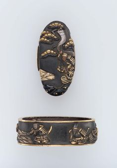 Fuchi-kashira with designs of Empress Jingu fishing and two warriors. Japanese Edo period Late 18th–early 19th century - Gotô School http://www.mfa.org/collections/object/fuchi-kashira-with-designs-of-empress-jingu-fishing-and-two-warriors-12590