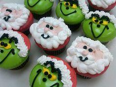 santa & grinch cupcakes