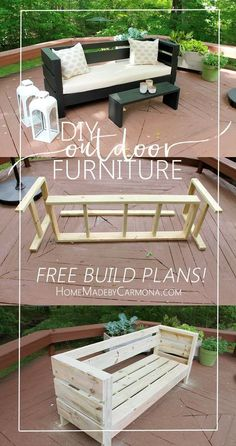 Furniture Build Plans Learn how to easily build your own Outdoor Sofa and Coffee Table/Bench from Homemade By Carmona.Learn how to easily build your own Outdoor Sofa and Coffee Table/Bench from Homemade By Carmona. Outdoor Sofa, Diy Outdoor Furniture, Outdoor Decor, Outdoor Benches, Outdoor Pallet, Outdoor Spaces, Rustic Furniture, Diy Pallet Patio Furniture, Diy Patio Furniture Cheap