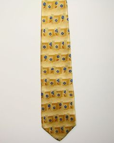 Geoffrey Beene Mens Gold Blue Rose Diamond 100% Silk Dress Neck Necktie Tie 58in #GeoffreyBeene #Tie