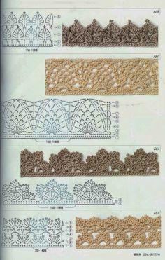 knitting edges and borders pattern \ knitting edges and borders ; knitting edges and borders pattern ; knitting edges and borders videos Crochet Boarders, Crochet Edging Patterns, Crochet Lace Edging, Crochet Diy, Crochet Motifs, Crochet Diagram, Crochet Chart, Thread Crochet, Filet Crochet