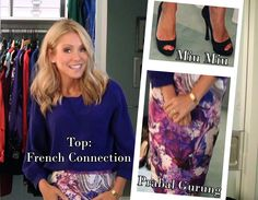 Kelly Ripa 10-11-12 | Top: French Connection | Skirt: Prabal Gurung | Heels: Miu Miu... See more of Kelly's fashion at http://www.dadt.com/live/fashion-finder.html #KellyandMichael #FashionFinder