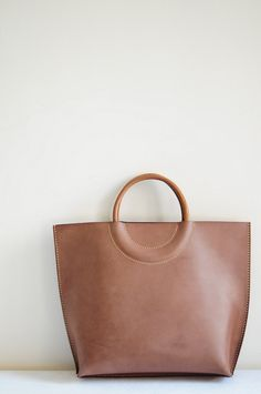 Hand Stitched Brown Leather Tote Bag (New Color). $175,00, via Etsy.