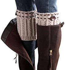 Buy 7 Colors Women Short Button Crochet Leg Warmers Winter Fall Knit Boot Cuffs Socks Boot Warmers Boot Toppers Gaiters at Wish - Shopping Made Fun Crochet Boot Cuff Pattern, Knitted Boot Cuffs, Knit Leg Warmers, Crochet Boots, Knit Boots, Alter Pullover, Old Sweater, How To Stretch Boots, Women Legs