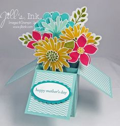 Flower Patch Card in a Box 4 Fun Fold Cards, Cool Cards, Folded Cards, Pop Up Box Cards, Card Boxes, Swing Card, Exploding Box Card, Craft Gifts, Explosion Box