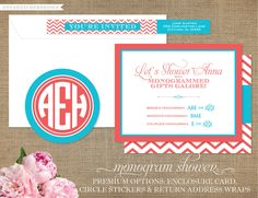 Chevron Monogram Shower Invitations and Enclosure Card - Wedding or Bridal Shower- Sticker and Return Address Wraps - Design for Printed Invitations with FREE SHIPPING. $25.00, via Etsy.