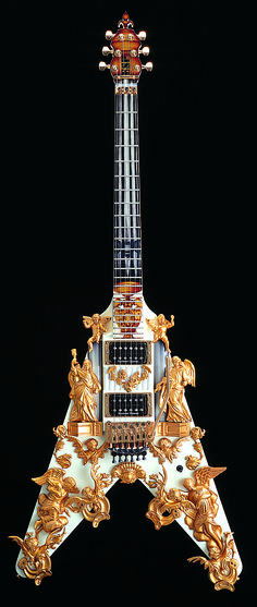 Gilded, baroque-ish electric guitar