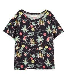Patterned jersey top | Dark grey/Patterned | LADIES | H&M NZ