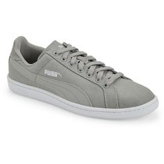 Puma Grey Puma Smash Low Top Sneakers (155 ILS) ❤ liked on Polyvore featuring shoes, sneakers, metallic, low profile sneakers, denim sneakers, fleece-lined shoes, gray sneakers and lacing sneakers