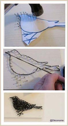 silhouette DIY (ici en laine, mais tester avec fil de laiton)  ♥ #epinglercpartager